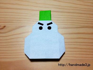 折り紙で雪だるまを作ってみた