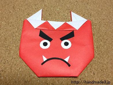 折り紙で節分の鬼を折ってみた