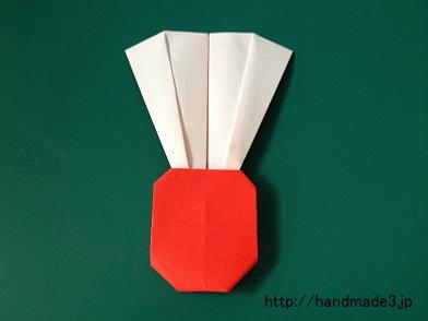 折り紙で羽根を折った
