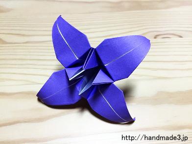 折り紙で立体のあやめを折った