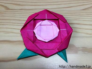 クリスマス 折り紙 : 立体折り紙バラ折り方 : handmade3.jp