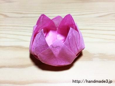 折り紙で蓮の花を折った